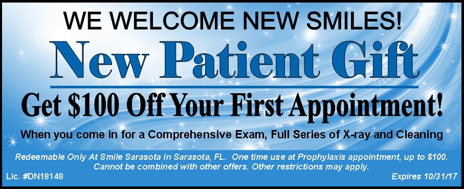 Smile Sarasota New Patient Coupon Oct 2017
